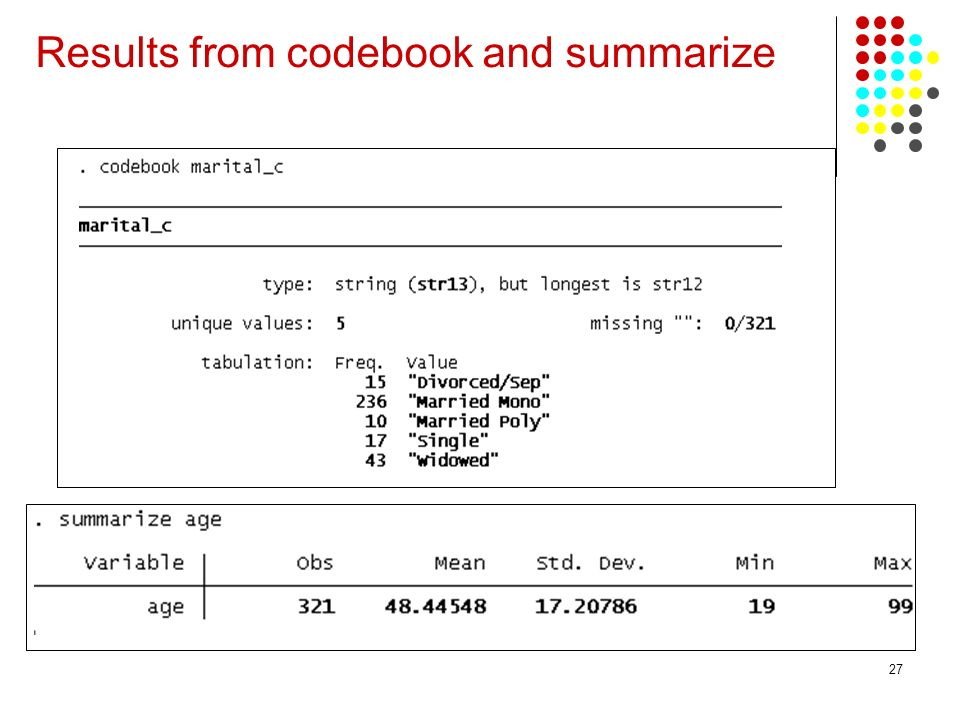 Results from codebook and summarize