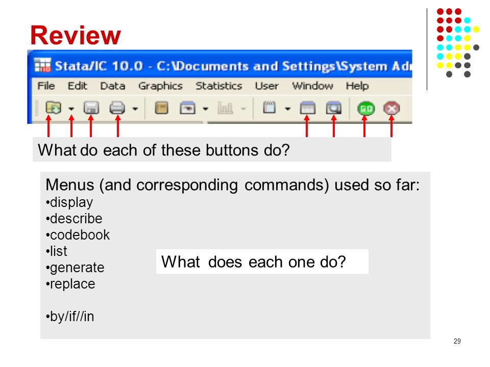 Review What do each of these buttons do