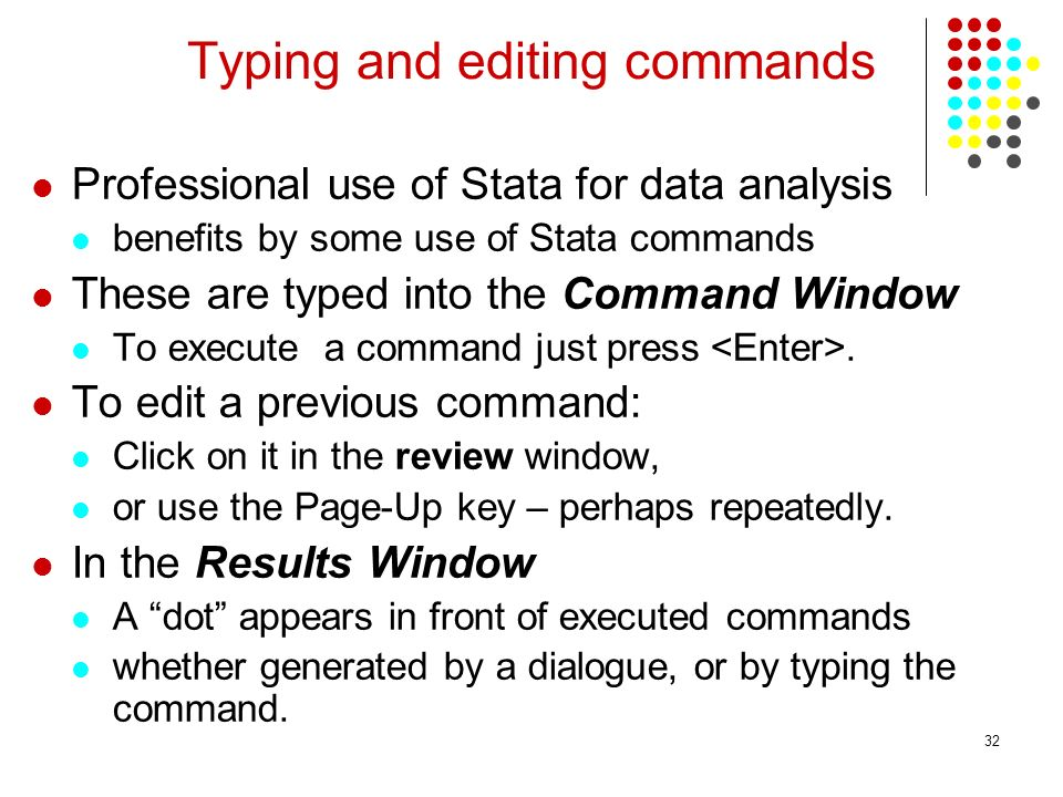 Typing and editing commands