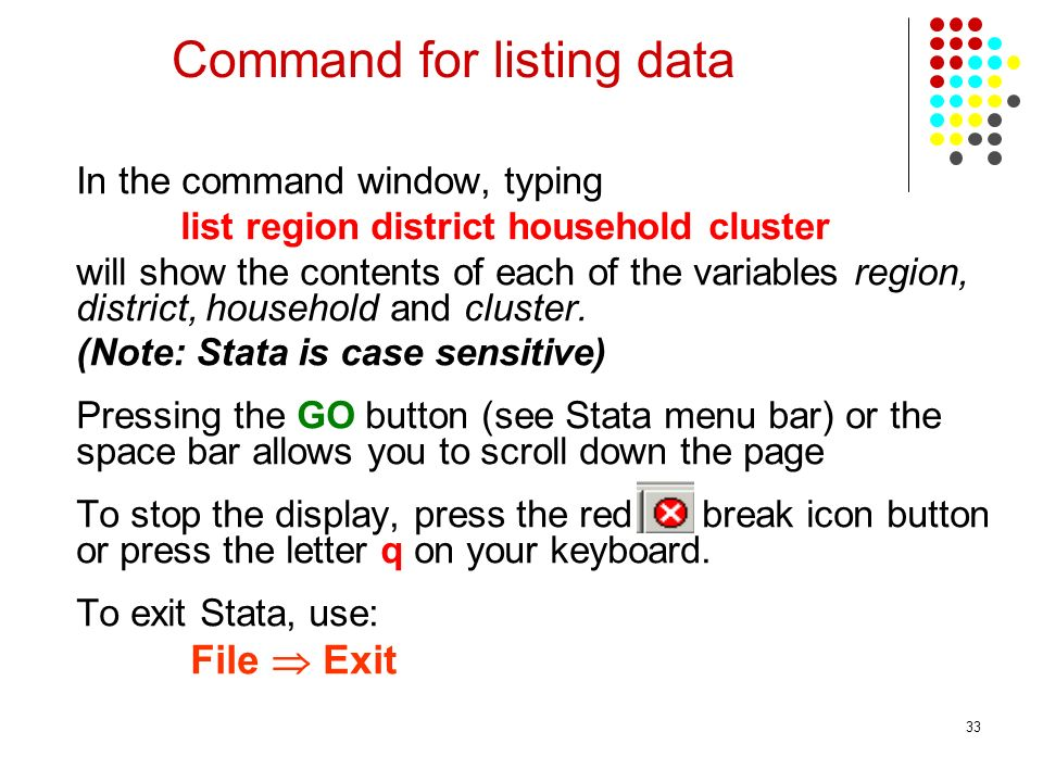 Command for listing data