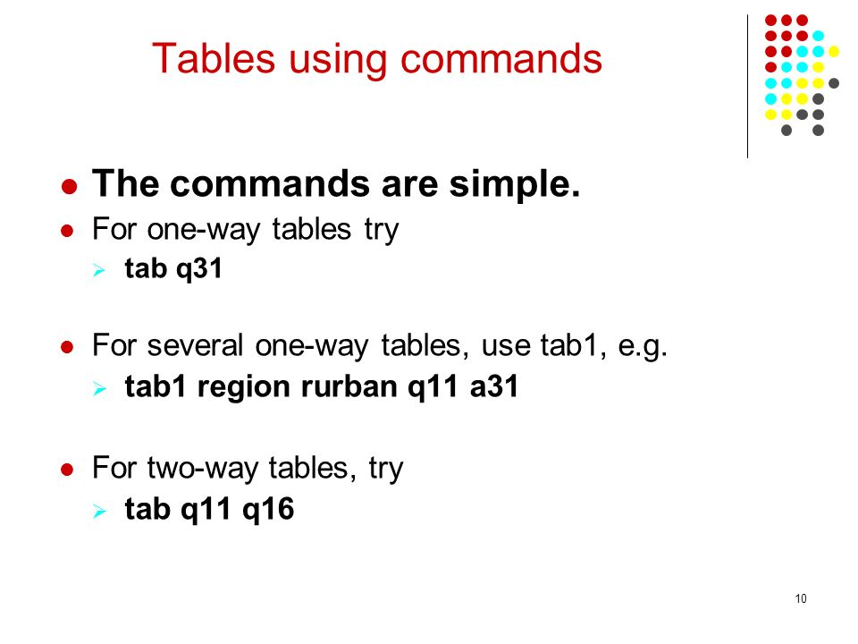 Tables using commands The commands are simple. For one-way tables try