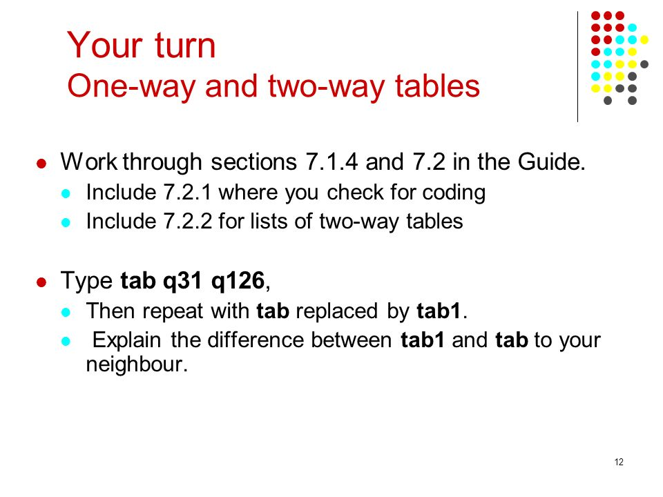 Your turn One-way and two-way tables