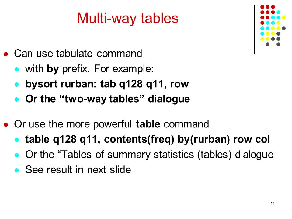 Multi-way tables Can use tabulate command with by prefix. For example: