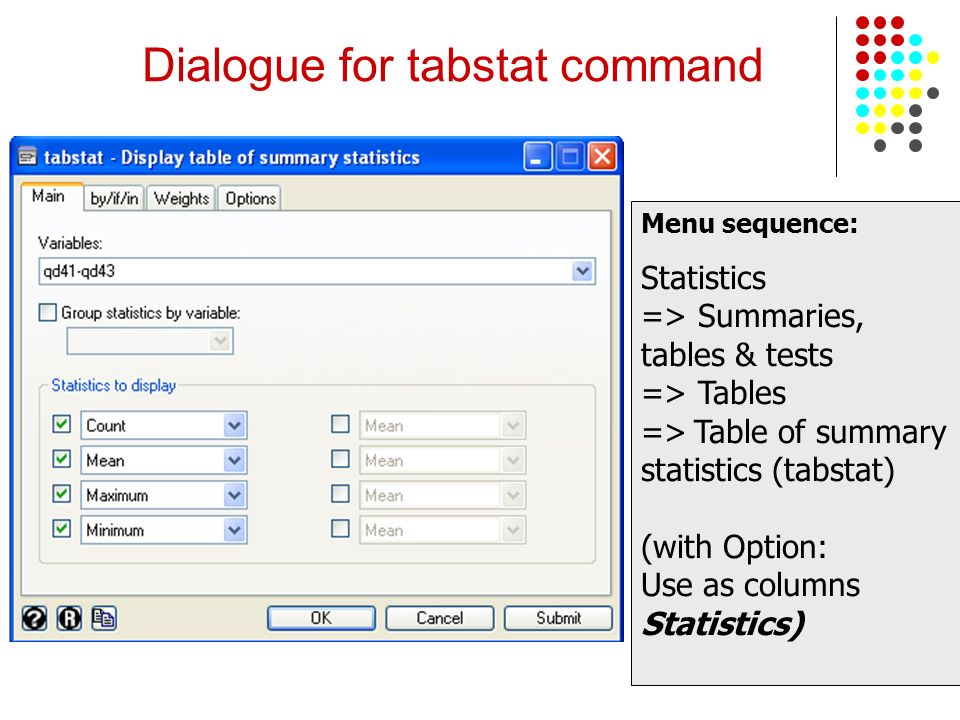 Dialogue for tabstat command