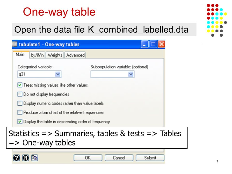 One-way table Open the data file K_combined_labelled.dta