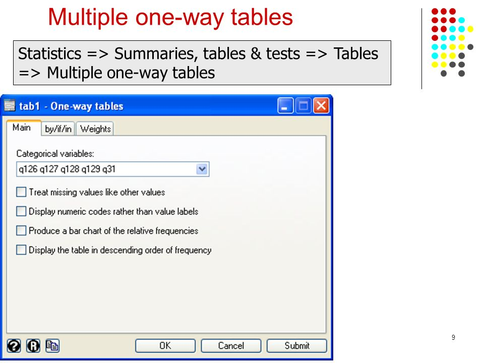 Multiple one-way tables