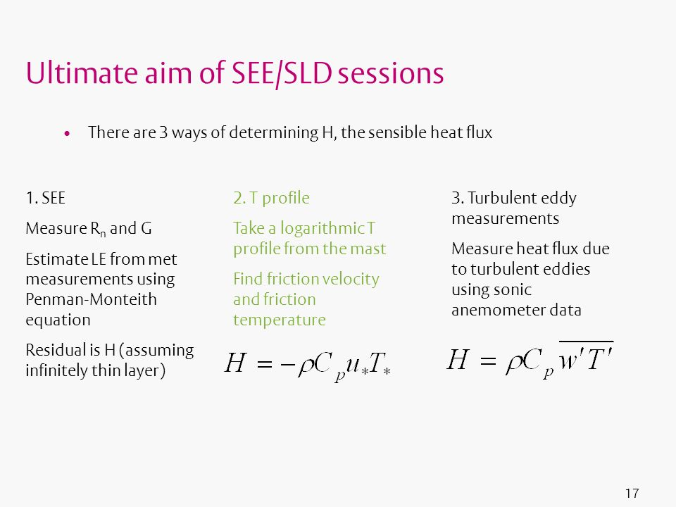 Ultimate aim of SEE/SLD sessions