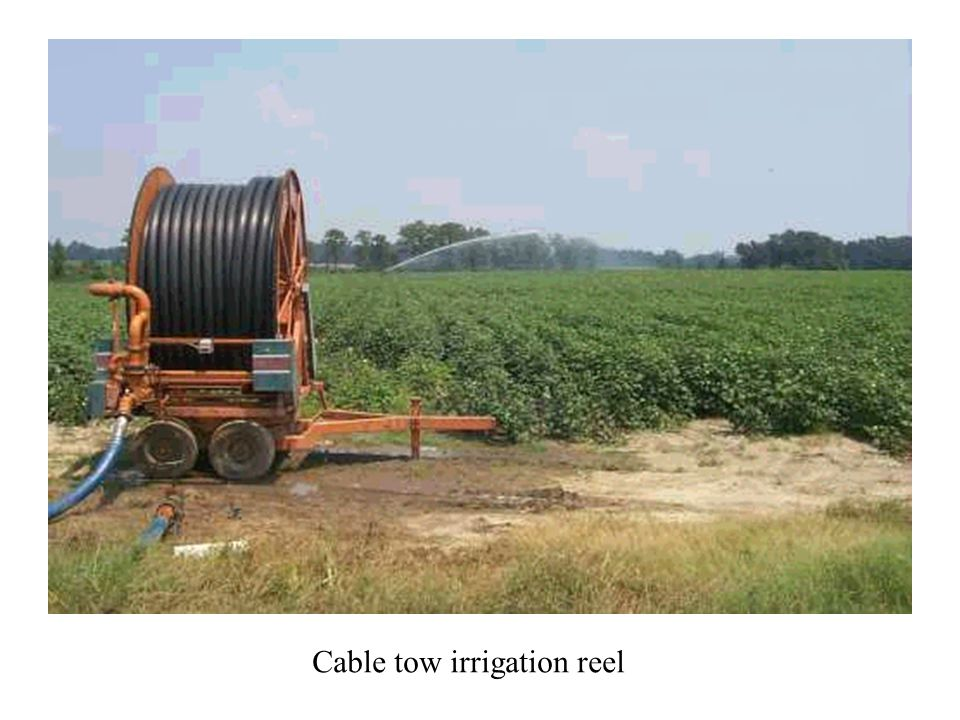 Cable tow irrigation reel