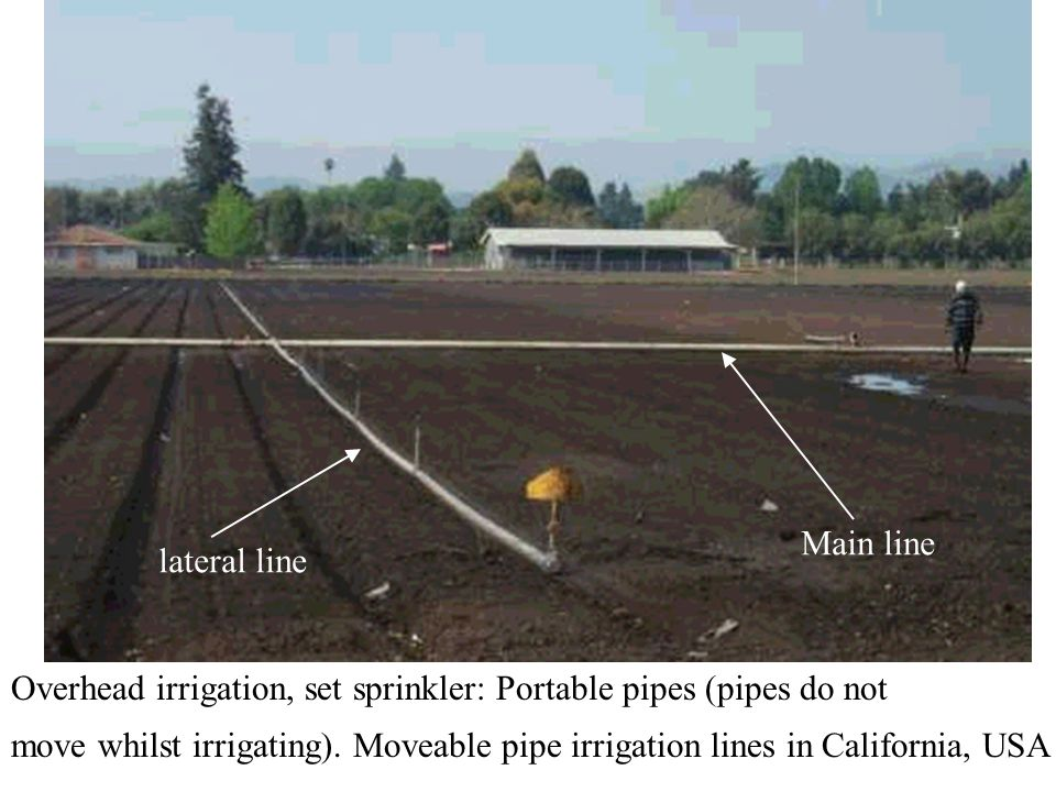 Main line lateral line. Overhead irrigation, set sprinkler: Portable pipes (pipes do not.