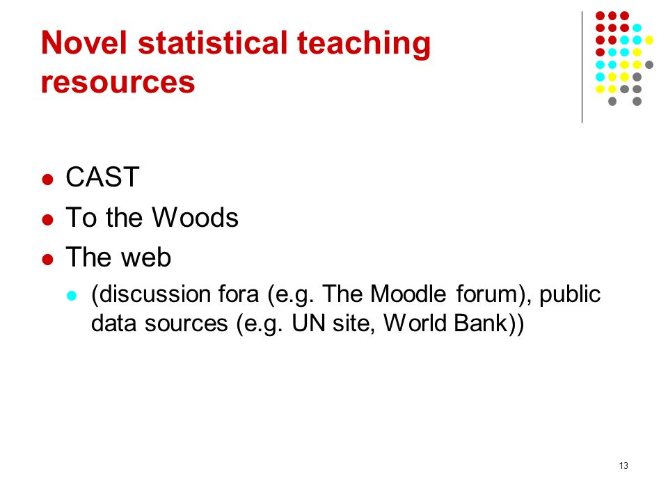 Novel statistical teaching resources