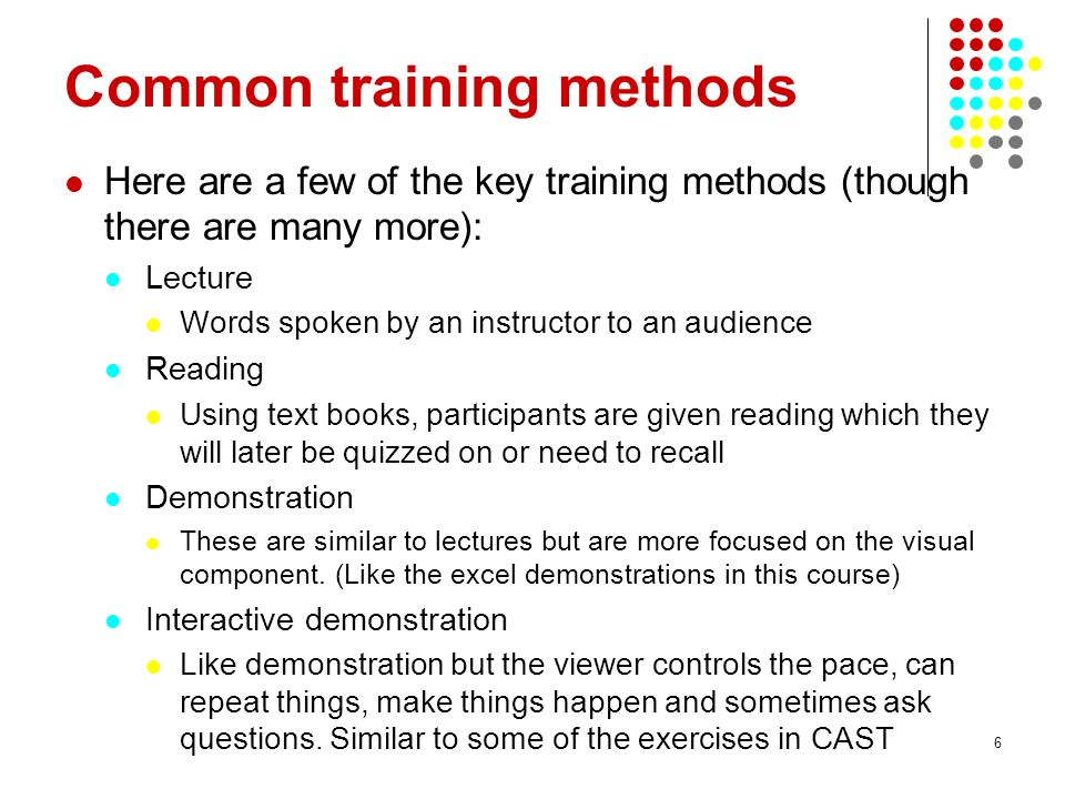 Common training methods