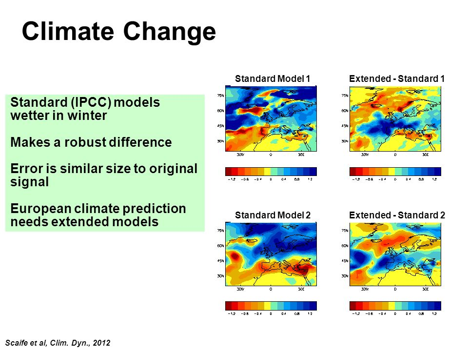 Climate Change Standard (IPCC) models wetter in winter
