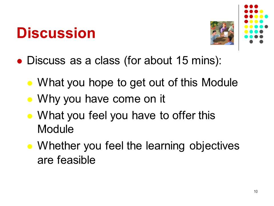 Discussion Discuss as a class (for about 15 mins):