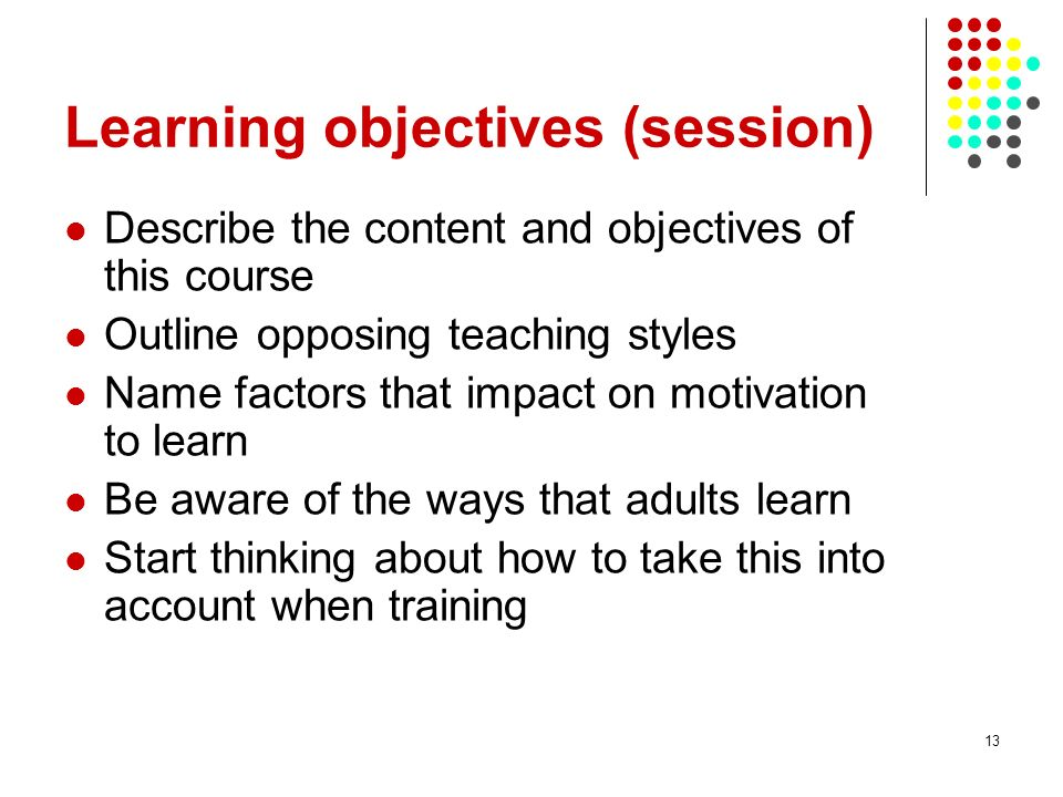 Learning objectives (session)
