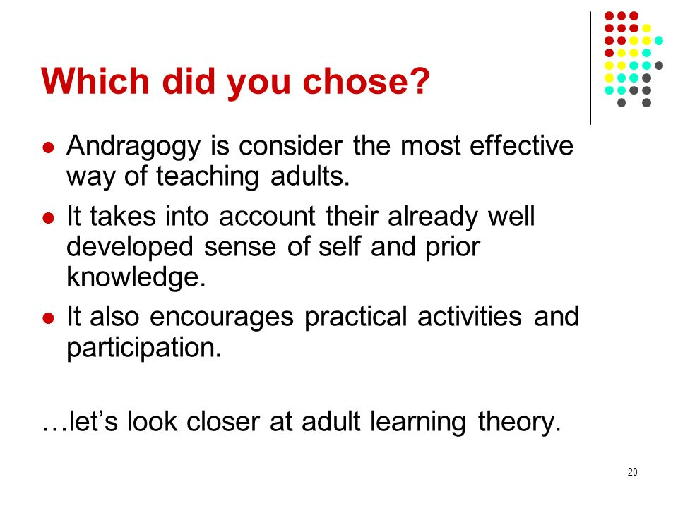 Which did you chose Andragogy is consider the most effective way of teaching adults.