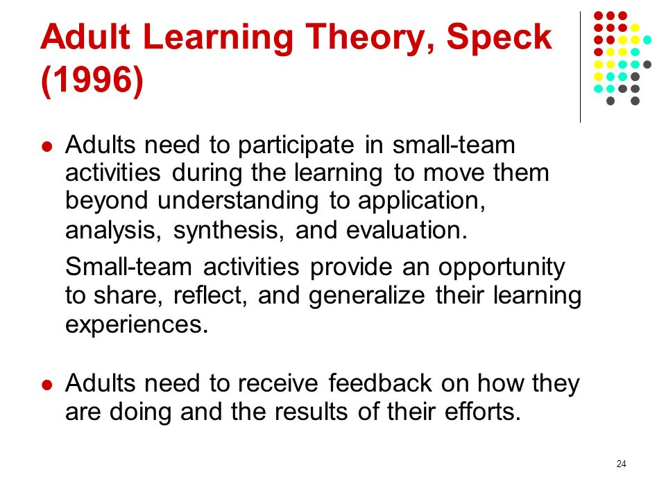 Adult Learning Theory, Speck (1996)