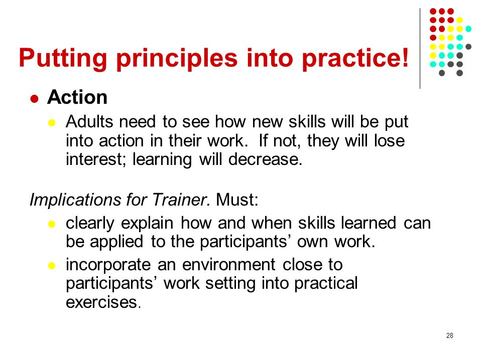 Putting principles into practice!