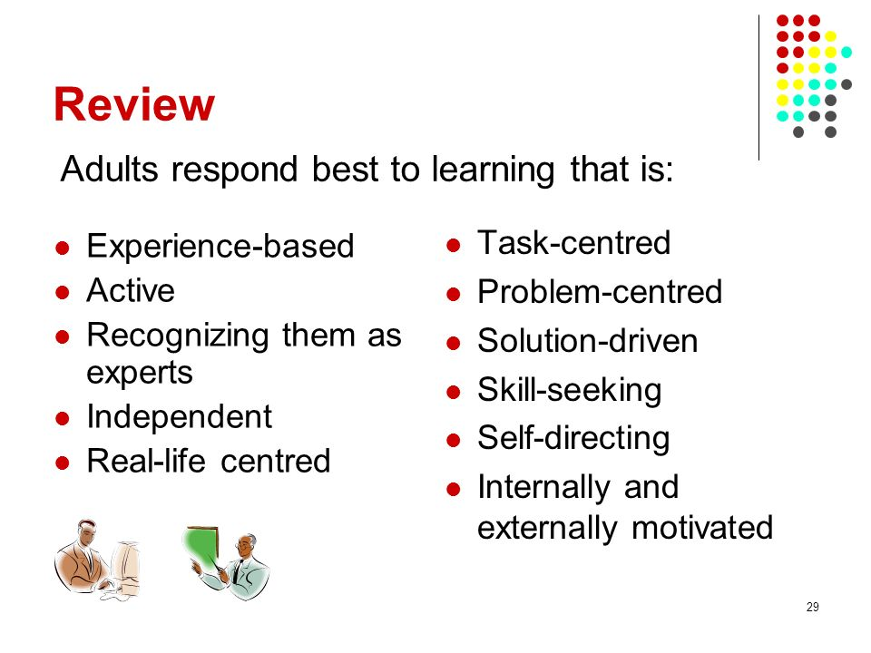 Review Adults respond best to learning that is: Task-centred