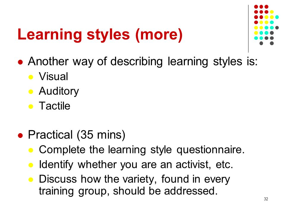 Learning styles (more)