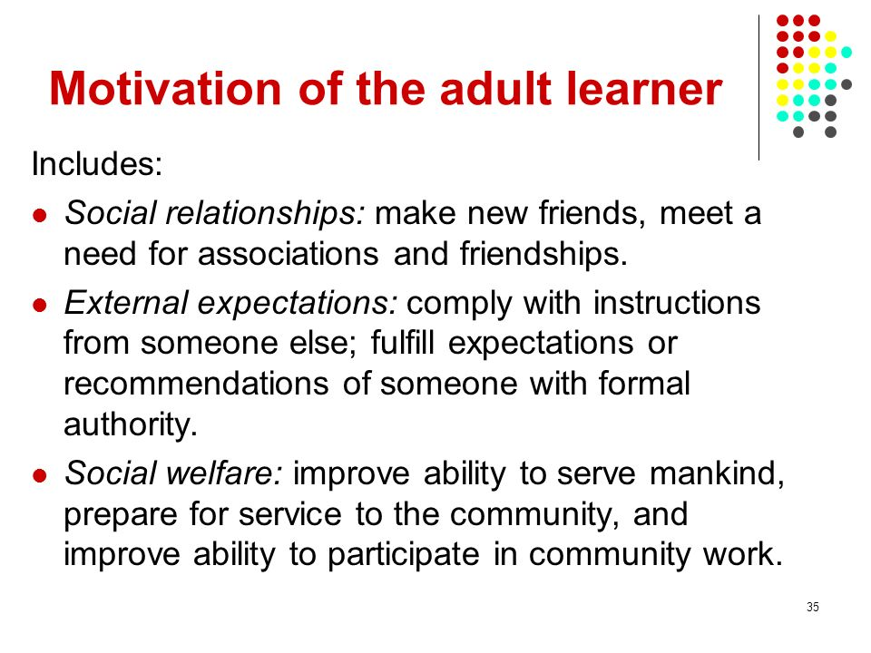 Motivation of the adult learner