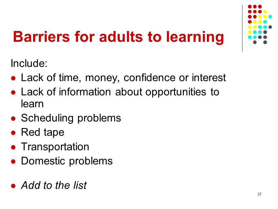 Barriers for adults to learning