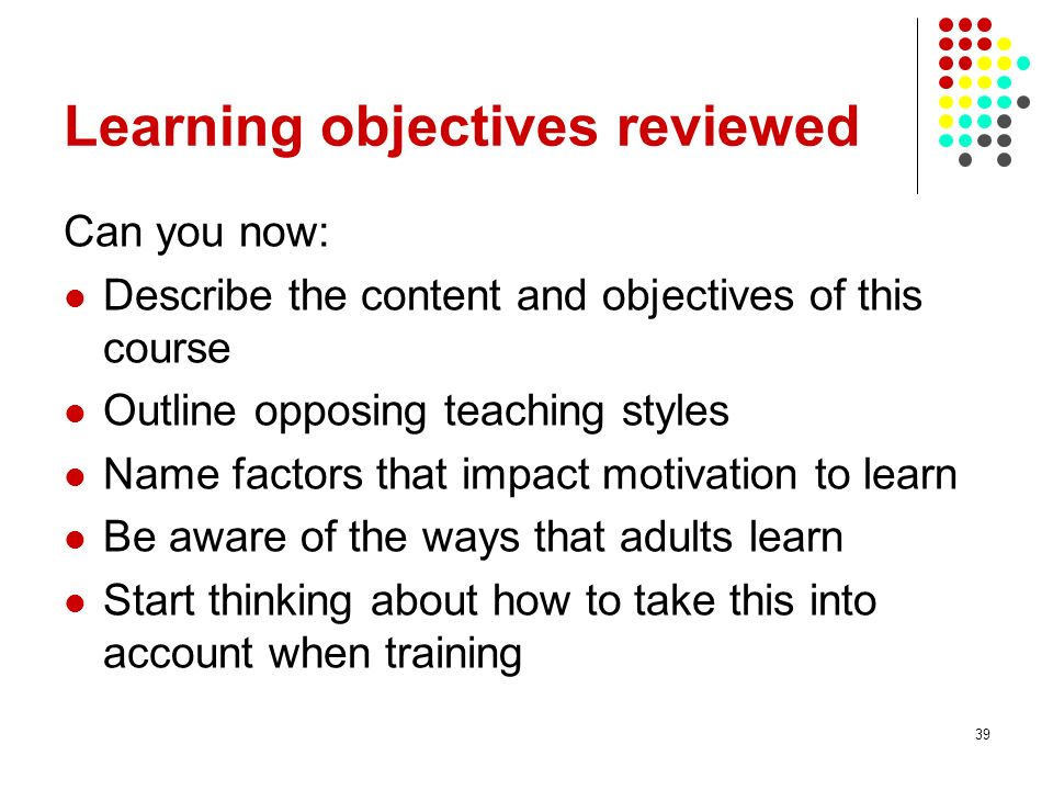 Learning objectives reviewed