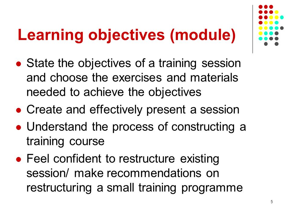 Learning objectives (module)