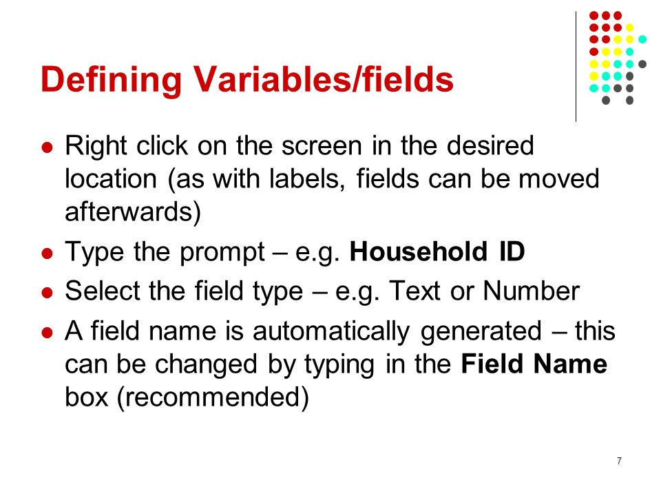 Defining Variables/fields