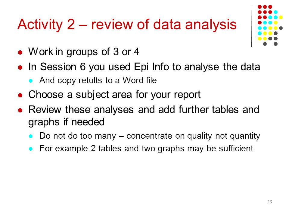 Activity 2 – review of data analysis