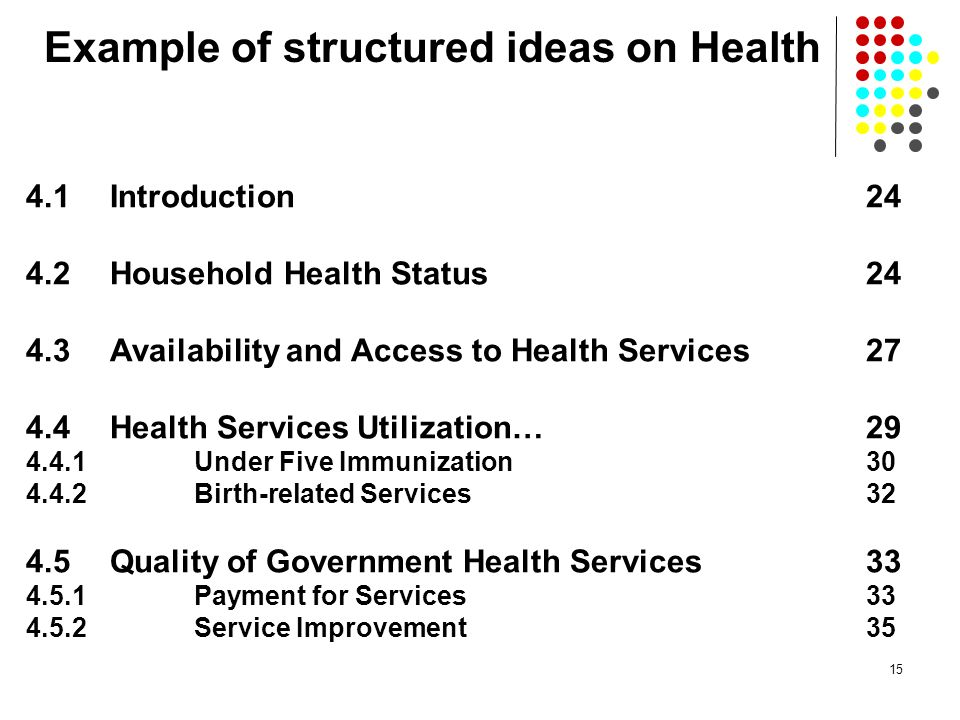 Example of structured ideas on Health