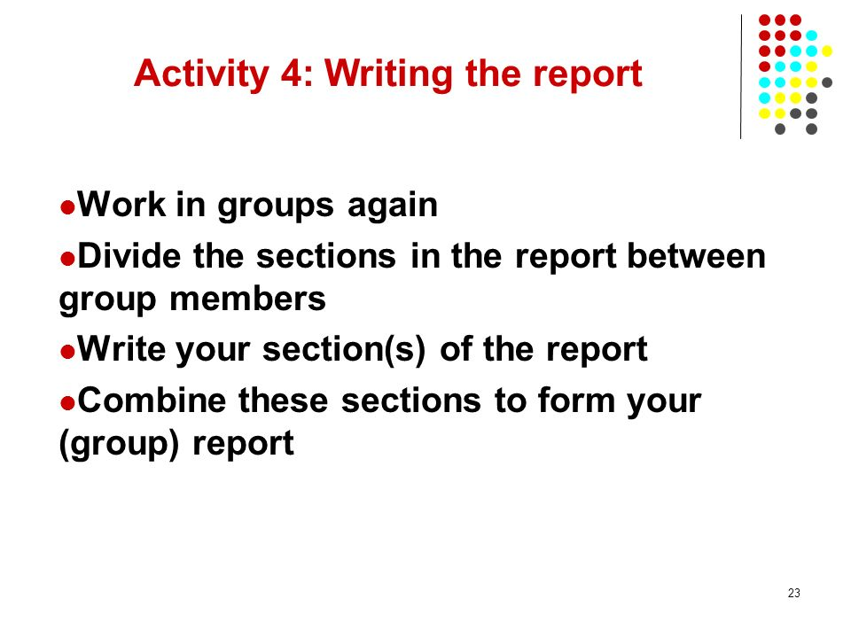 Activity 4: Writing the report