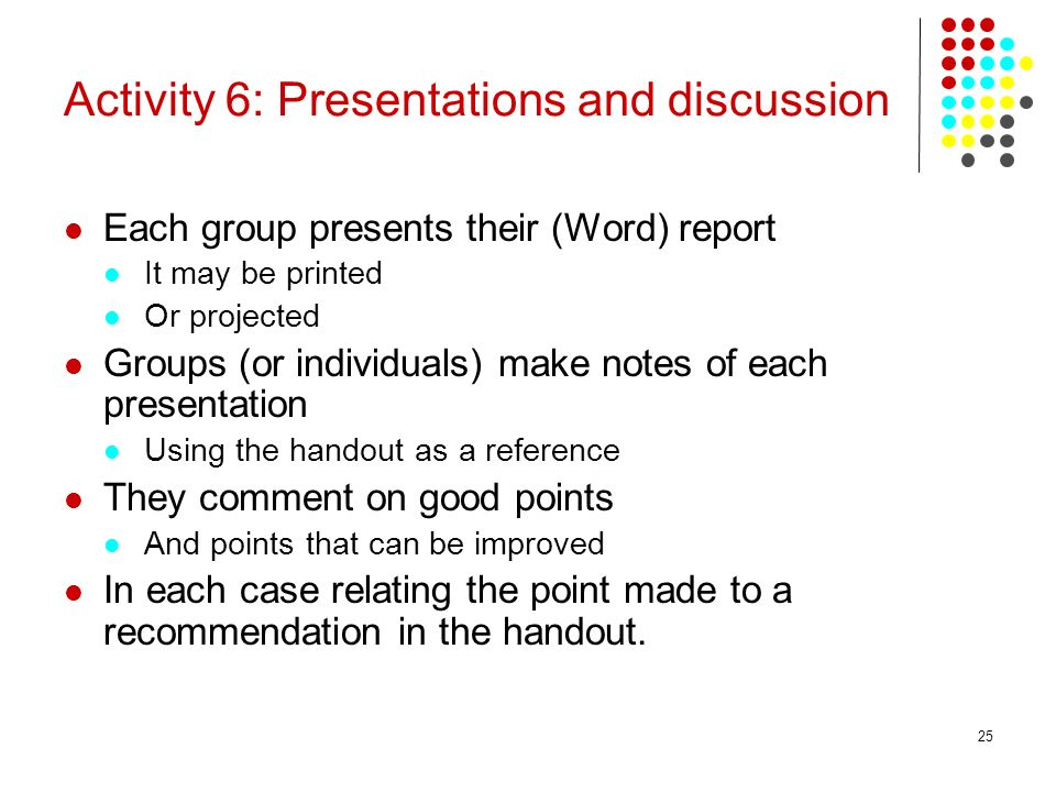 Activity 6: Presentations and discussion