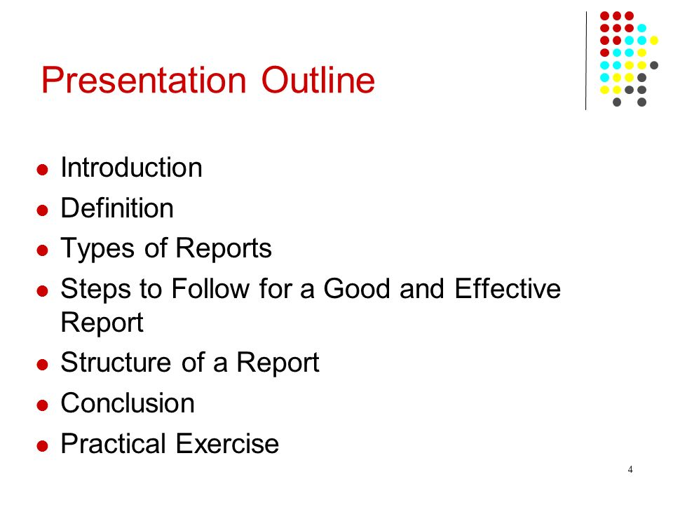 Presentation Outline Introduction Definition Types of Reports