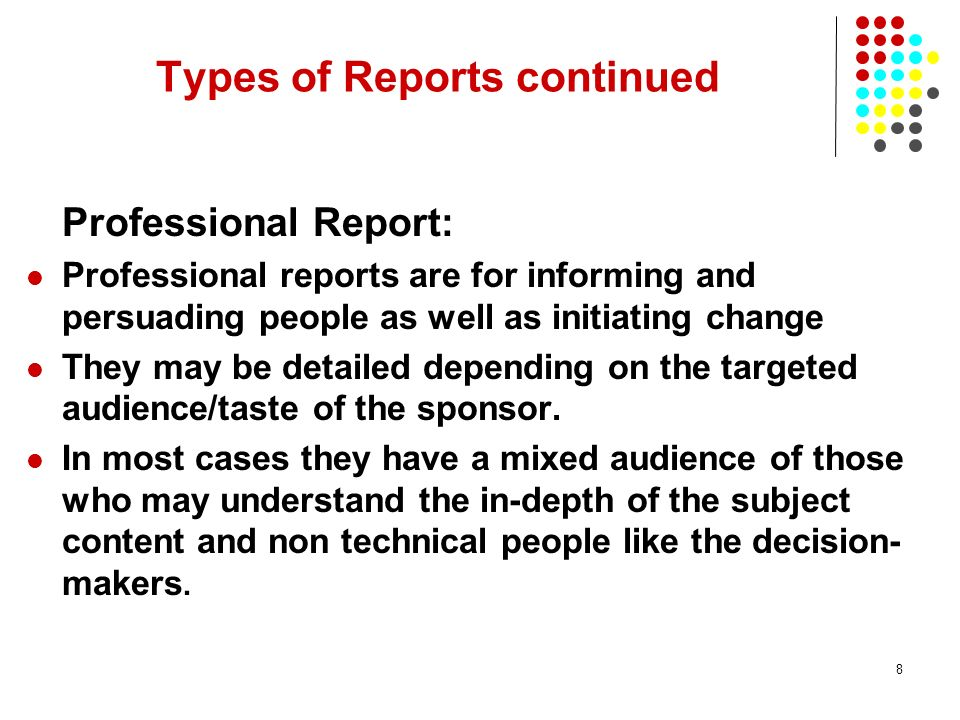 Types of Reports continued