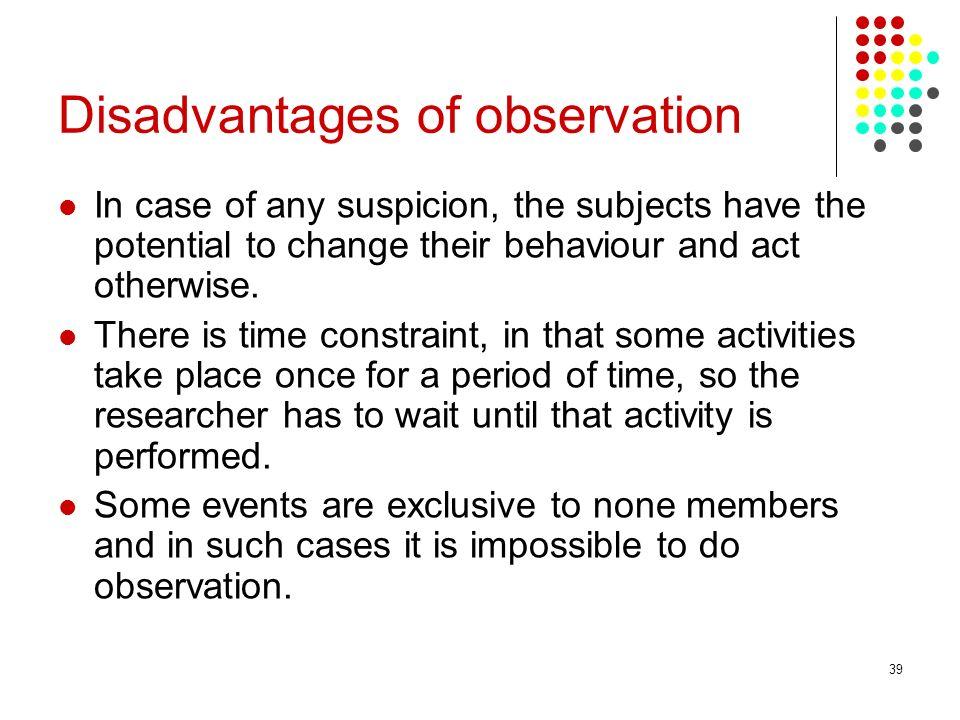 Disadvantages of observation