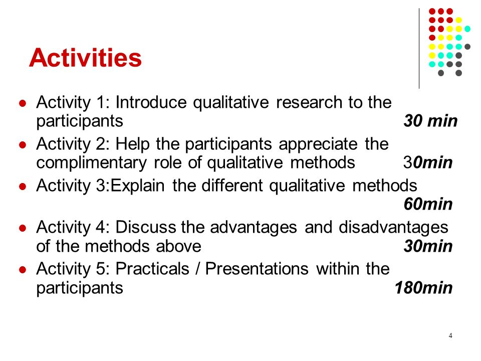 Activities Activity 1: Introduce qualitative research to the participants 30 min.
