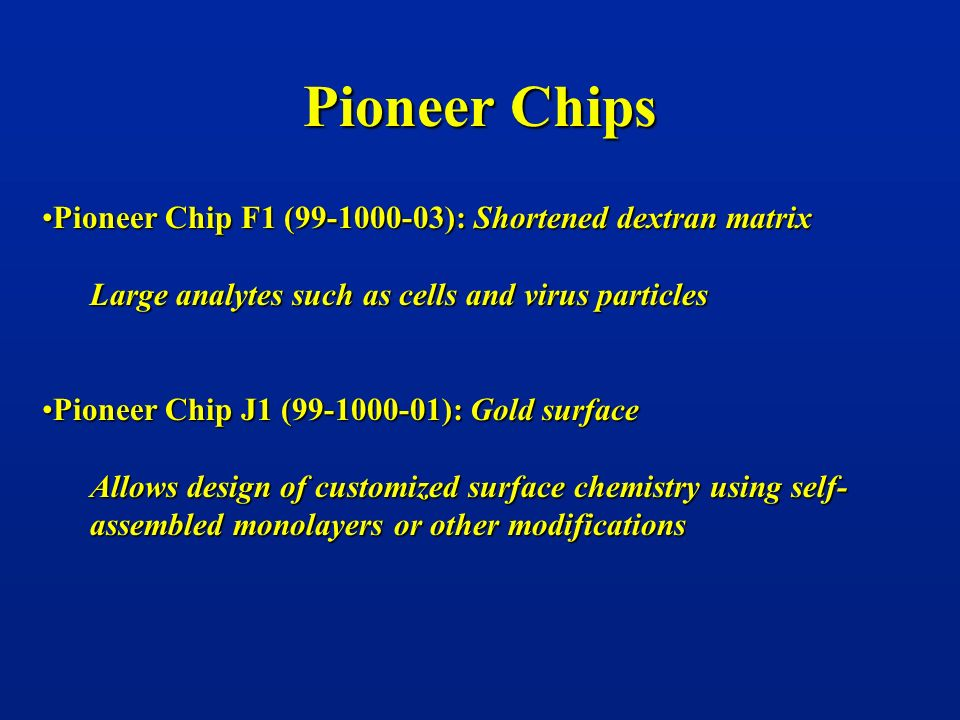 Pioneer Chips Pioneer Chip F1 (99-1000-03): Shortened dextran matrix
