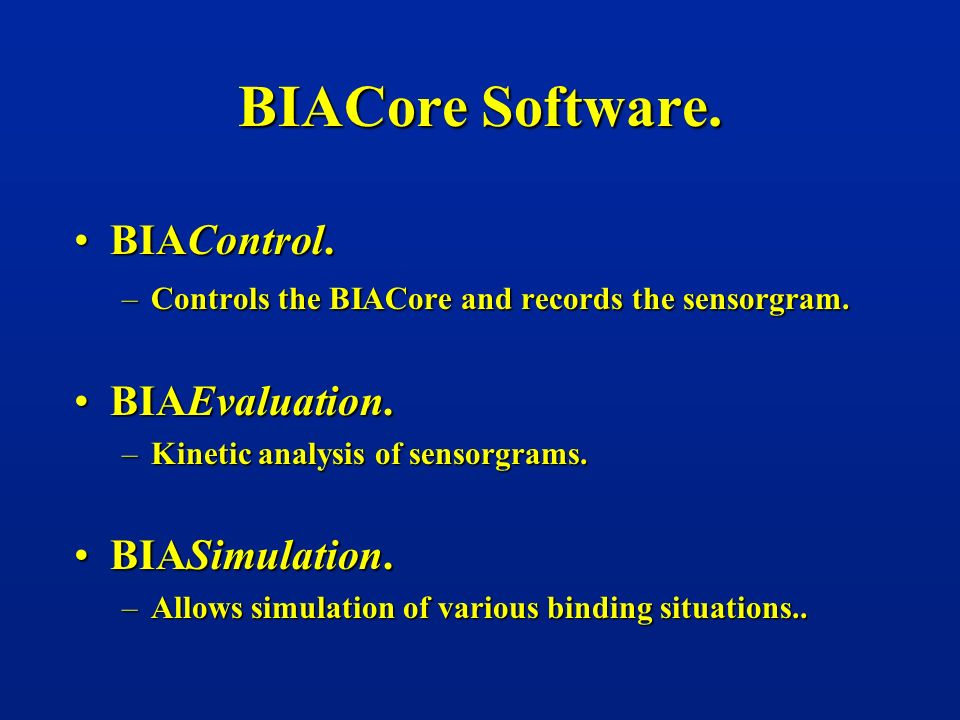 BIACore Software. BIAControl. BIAEvaluation. BIASimulation.