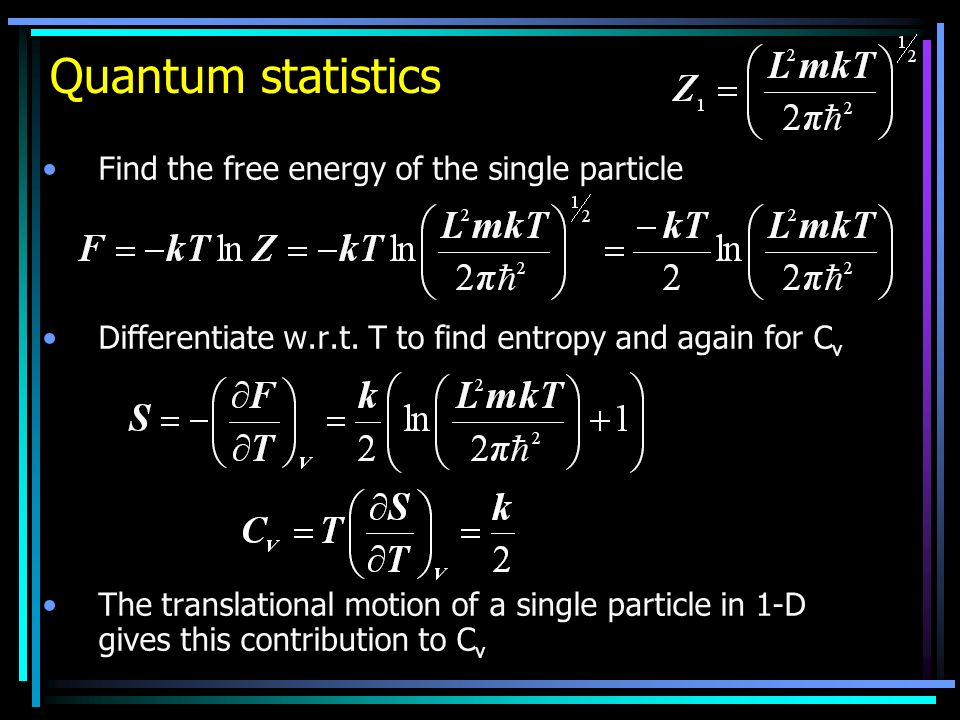 Quantum statistics Find the free energy of the single particle