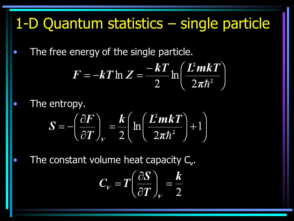 1-D Quantum statistics – single particle