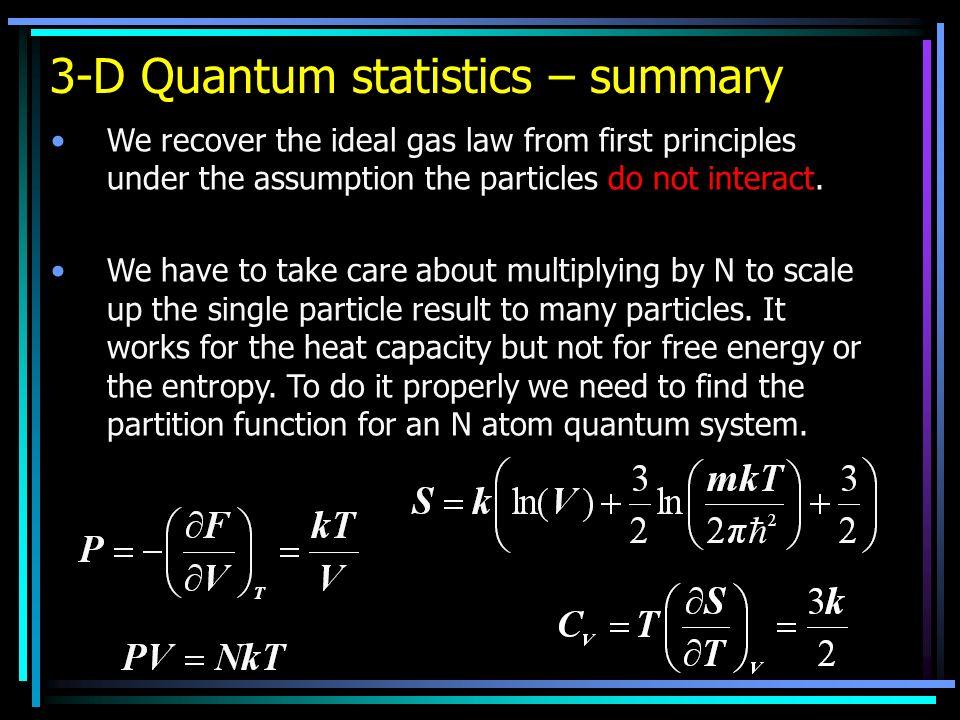 3-D Quantum statistics – summary