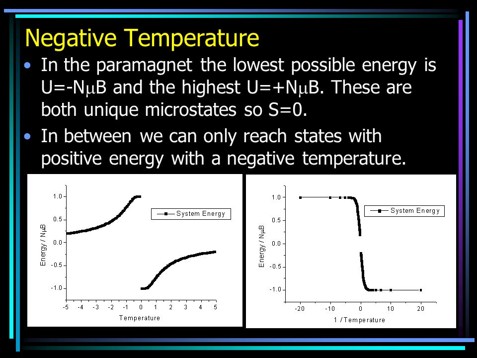 Negative Temperature In the paramagnet the lowest possible energy is U=-NB and the highest U=+NB. These are both unique microstates so S=0.