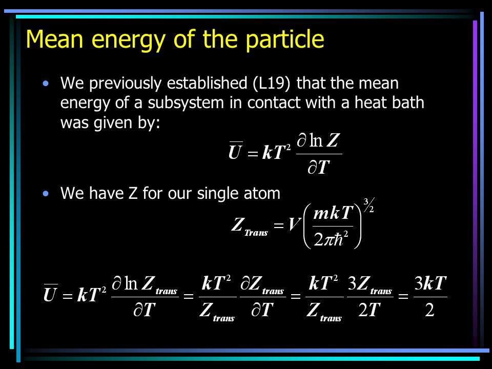 Mean energy of the particle