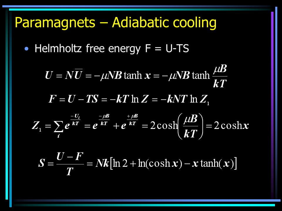 Paramagnets – Adiabatic cooling