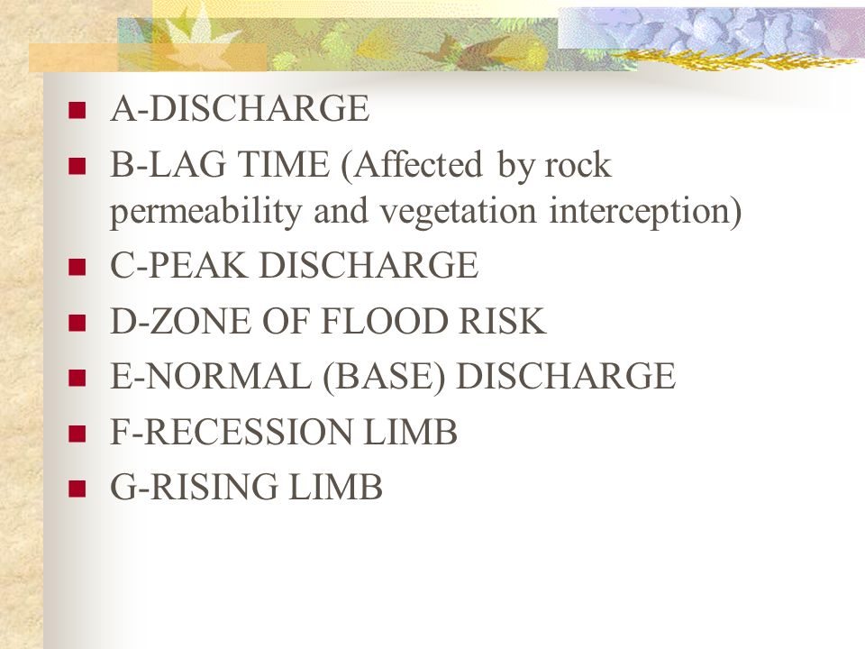 A-DISCHARGE B-LAG TIME (Affected by rock permeability and vegetation interception) C-PEAK DISCHARGE.