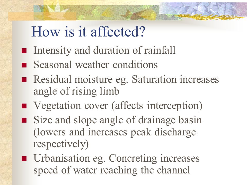 How is it affected Intensity and duration of rainfall