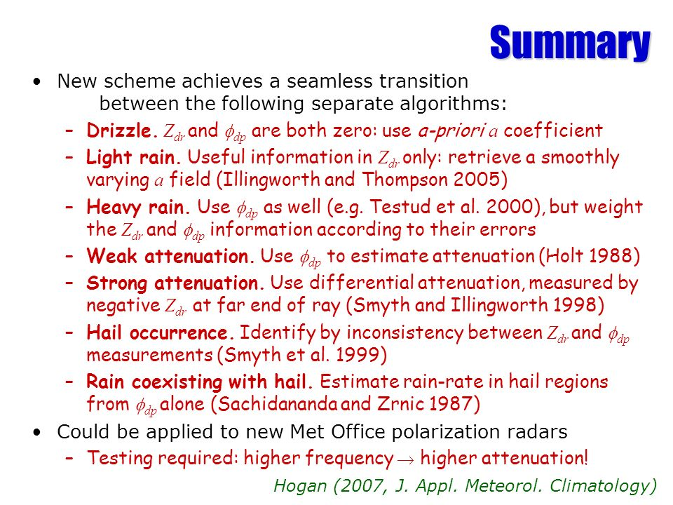 Summary New scheme achieves a seamless transition between the following separate algorithms: