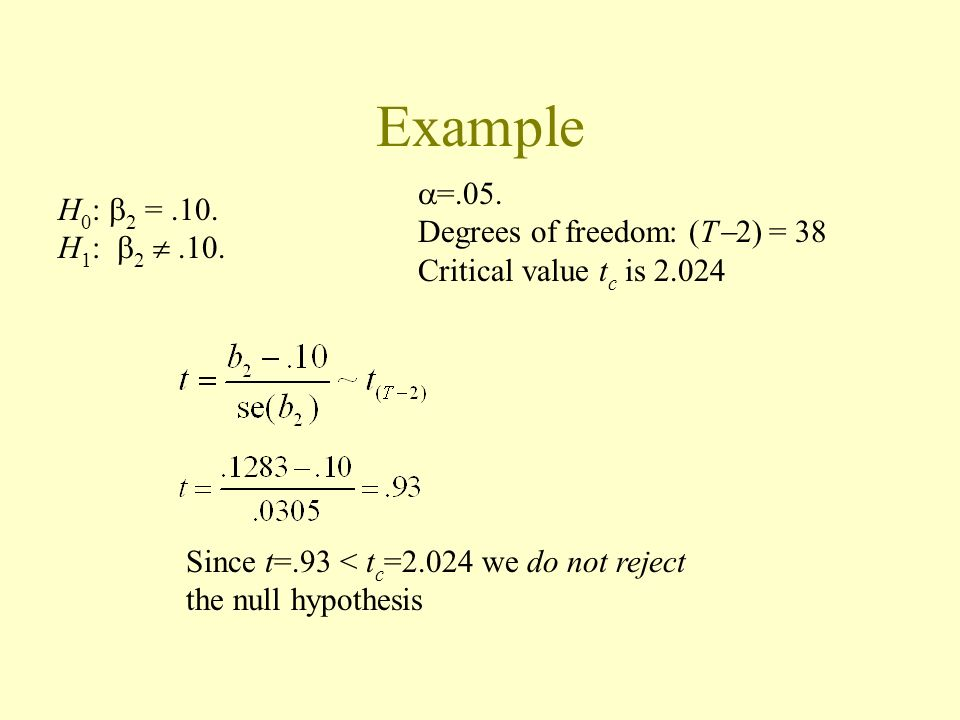 Example =.05. H0: 2 = .10. Degrees of freedom: (T2) = 38