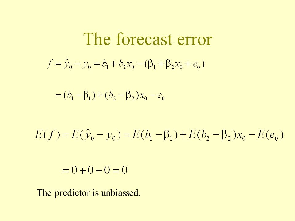 The forecast error The predictor is unbiassed.