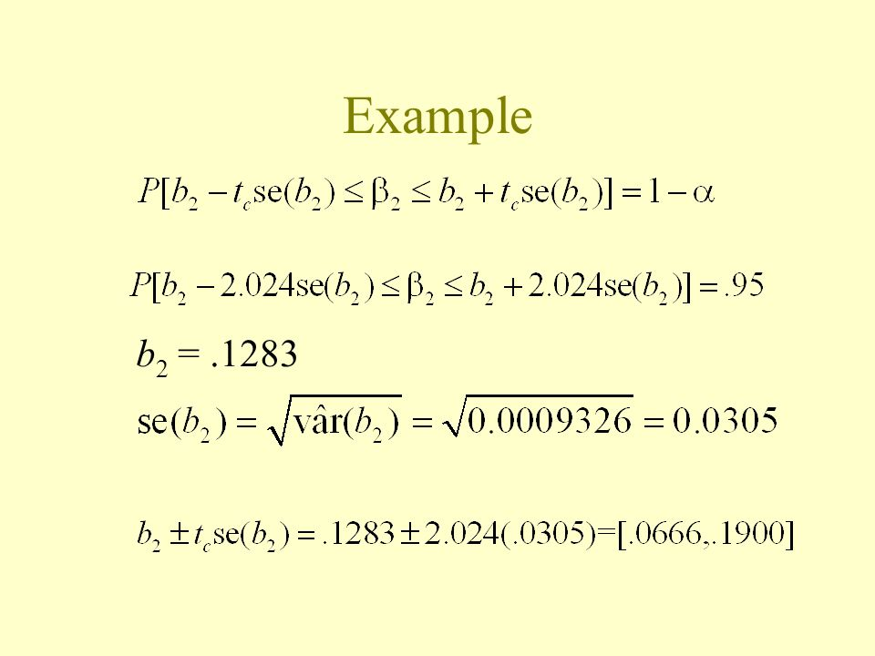 Example b2 = .1283 Critical value for the t dist is alpha=0.05 and 38 d.f.